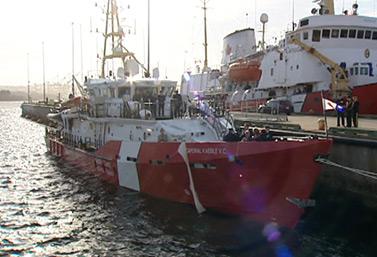 Le Caporal Kaeble V.C. est le deuxième de neuf navires qu'on construit en ce moment à Halifax pour les besoins de la Garde côtière canadienne. (CBC)