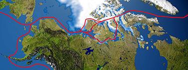 Le tracé du passage du Nord-Ouest (Wikipédia)