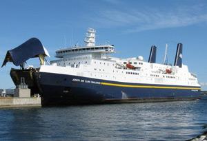L'ancien traversier Smallwood de la société Marine Atlantic, sur la côte est canadienne. Pendant 21 ans, il a effectué le trajet entre Terre-Neuve et la Nouvelle-Écosse. (CBC News)