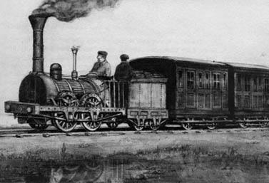 Dessin d'époque montrant le premier train du Canada, le Dorchester, en 1836 (Canadien National)