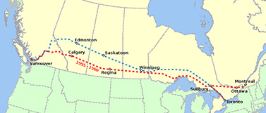 Carte d'une partie du trajet emprunté par les trains sur le chemin de fer transcanadien entre les villes de Vancouver et de Montréal (Wikipédia)
