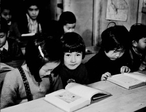 British Columbia ca. 1942 Internment Camps - Loyalty to the British Empire is taught these second and third generation Japanese children.