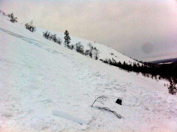 Traces of last Friday's avalanche in Ylläs, western Lapland. Image: Ylläs Ski Patrol
