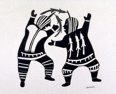 Légende de la photo : Sans titre (Deux personnes en train de danser), v. 1970, estampe réalisée par gravure sur pierre. Artiste : Helen Kalvak. Graveur : Harry Egotak