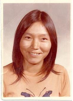 Minnie Akparook. Photo datant de l'école secondaire, à Churchill, au Manitoba. Avec la permission de Minnie Akparook.