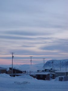 Homes near Patricia Bay in Clyde River, Nunavut.