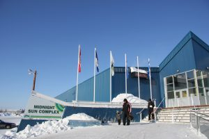 """Inuvik's Midnight Sun Complex in Canada's Northwest Territories. CBC's Cross Country Checkup call-in show visited Inuvik earlier this month to ask the question: """"Is Canada making the right moves in developing the north?"""" (Eilís Quinn, Eye on the Arctic)"""
