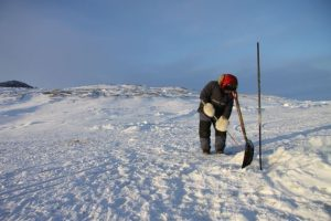 Un chasseur inuit utilise son harpon pour percer un trou dans la glace afin de vérifier ses filets tendus sous l'eau. Photo Levon Sevunts.