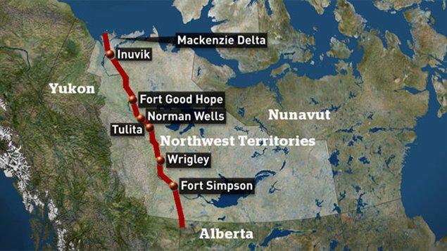 Le projet de pipeline le long du fleuve MacKenzie dans les Territoires du Nord-Ouest . (CBC)