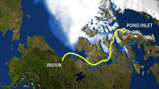 The proposed route through the Northwest Passage. (CBC.ca)