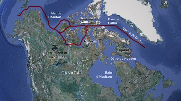 Le passage du Nord-Ouest reliant l'océan Atlantique à l'océan Pacifique en passant entre les îles arctiques du Grand Nord canadien (Radio-Canada.ca)