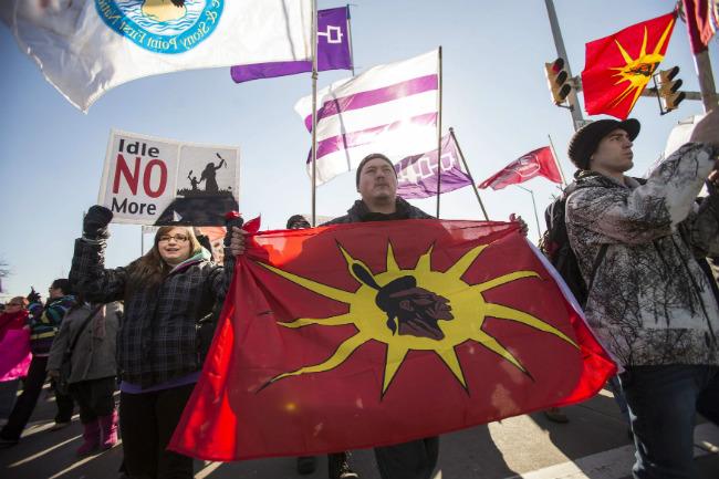 Manifestants du mouvement Idle No More. (Geoff Robins / La Presse Canadienne)