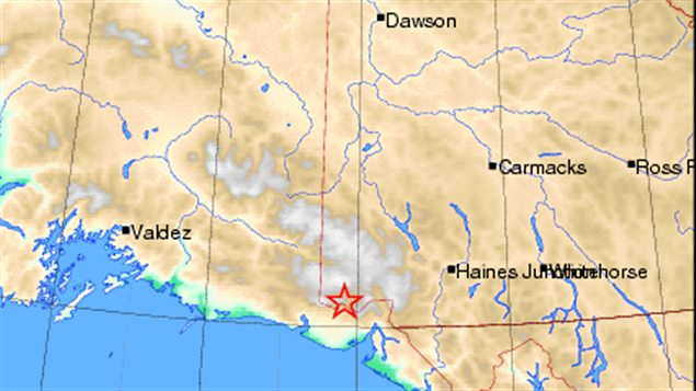 Un séisme de magnitude 6 a eu lieu jeudi matin près de la frontière entre l'Alaska et le Yukon. (Site web de Ressources naturelles Canada / Radio-Canada)
