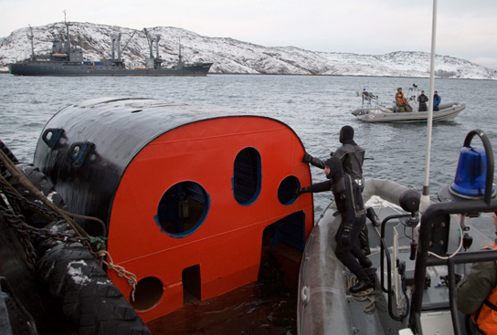 The Russian navy tests a catapult chamber with crew members inside. (Russian Ministry of Defense)