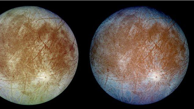 Des images prises par la sonde Galileo de la NASA dans les années 1990 montrent des stries brunes dans la glace qui semblent contenir des composés de soufre. (SETI Institute/JPL-Caltech/NASA)