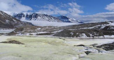Le glacier en question a été découvert par les scientifiques canadiens Steve Grasby et Benoit Beauchamp il y a environ 25 ans. Ils avaient alors été frappés par sa couleur jaune inhabituelle, causée par une concentration de soufre inhabituelle prisonnière dans ses glaces (Stephen Grasby / Ressources naturelles Canada)