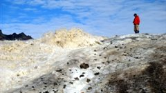 Steve Grasby se trouve à côté d'une source de soufre jaillissant du glacier à Borup Fiord Pass. (Benoit Beauchamp / Université de Calgary)