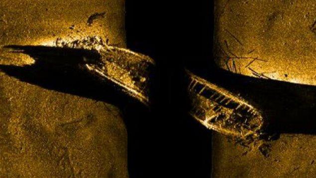 Image réalisée par un sonar montrant le NSM Erebus, un des navires de l'explorateur britannique Sir John Franklin, disparu dans l'Arctique en 1846. (Parcs Canada)
