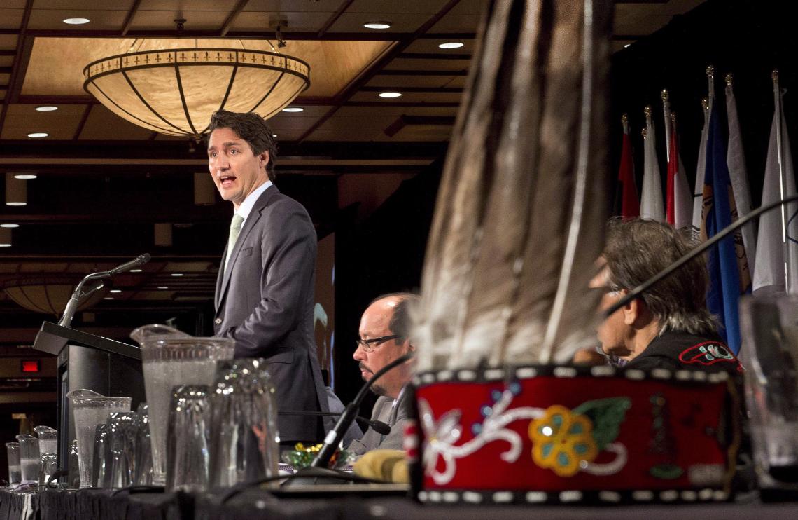 Justin Trudeau s'adresse à l' Assemblée des premières nations à Montréal en juillet 2015. (Ryan Remiorz/La Presse Canadienne)