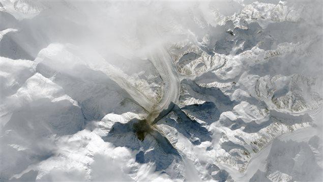 Une image satellite montre l'ampleur du glissement de terrain sur le mont Steele, au Yukon. (NASA Earth Observatory via Radio-Canada Yukon)