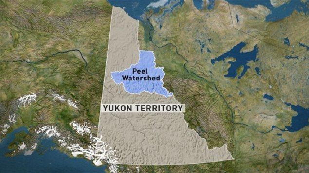Le bassin hydrographique de la rivière Peel au Yukon (en bleu) s'étend sur 67 431 km carrés. (CBC)
