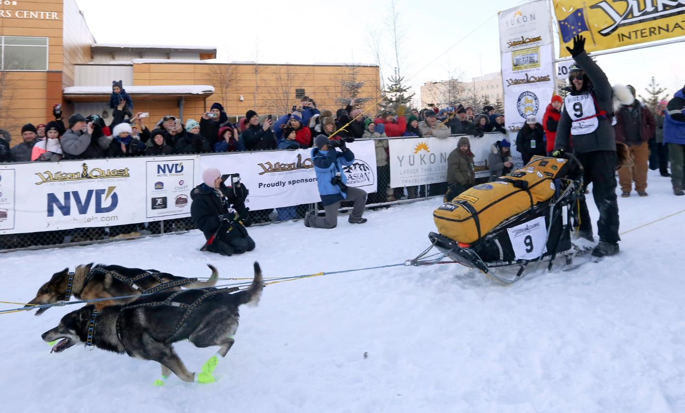 L'idée de récompenser tous les conducteurs de chiens de traîneau qui parcourent les 1600 km de la compétition est venue des participants, d'après la directrice générale du Yukon Quest, Natalie Haltrich. (Erin Corneliussen/Fairbanks Daily News-Miner via AP/The Canadian Press)
