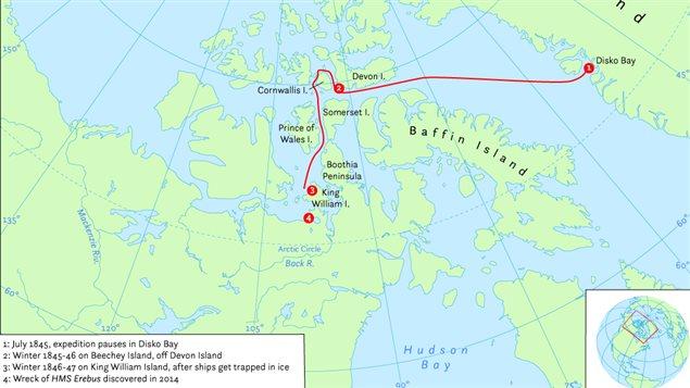 Carte du parcours probable de l'Expédition Franklin (Hans van der Maarel / Wikimédia Commons)