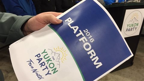 La plateforme du Parti du Yukon est intitulée « Vrai Nord ». (Dave Croft/Radio-Canada)