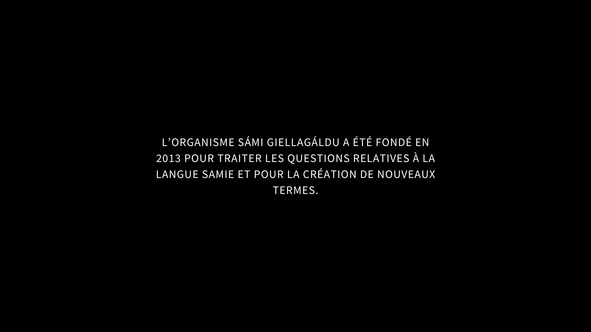 L'ORGANISME SÁMI GIELLAGÁLDU A ÉTÉ FONDÉ EN 2013 POUR TRAITER LES QUESTIONS RELATIVES À LA LANGUE SAMIE ET POUR LA CRÉATION DE NOUVEAUX TERMES.