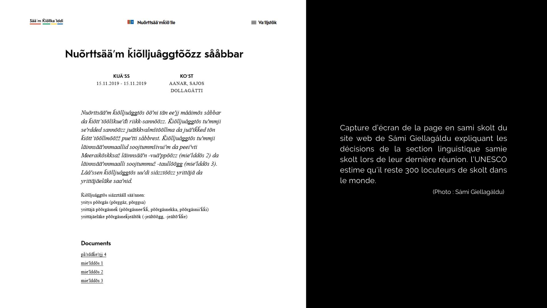 Capture d'écran de la page en sami skolt du site web de Sámi Giellagáldu expliquant les décisions de la section linguistique samie skolt lors de leur dernière réunion. L'UNESCO estime qu'il reste 300 locuteurs de skolt dans le monde. (photo: Sámi Giellagáldu)