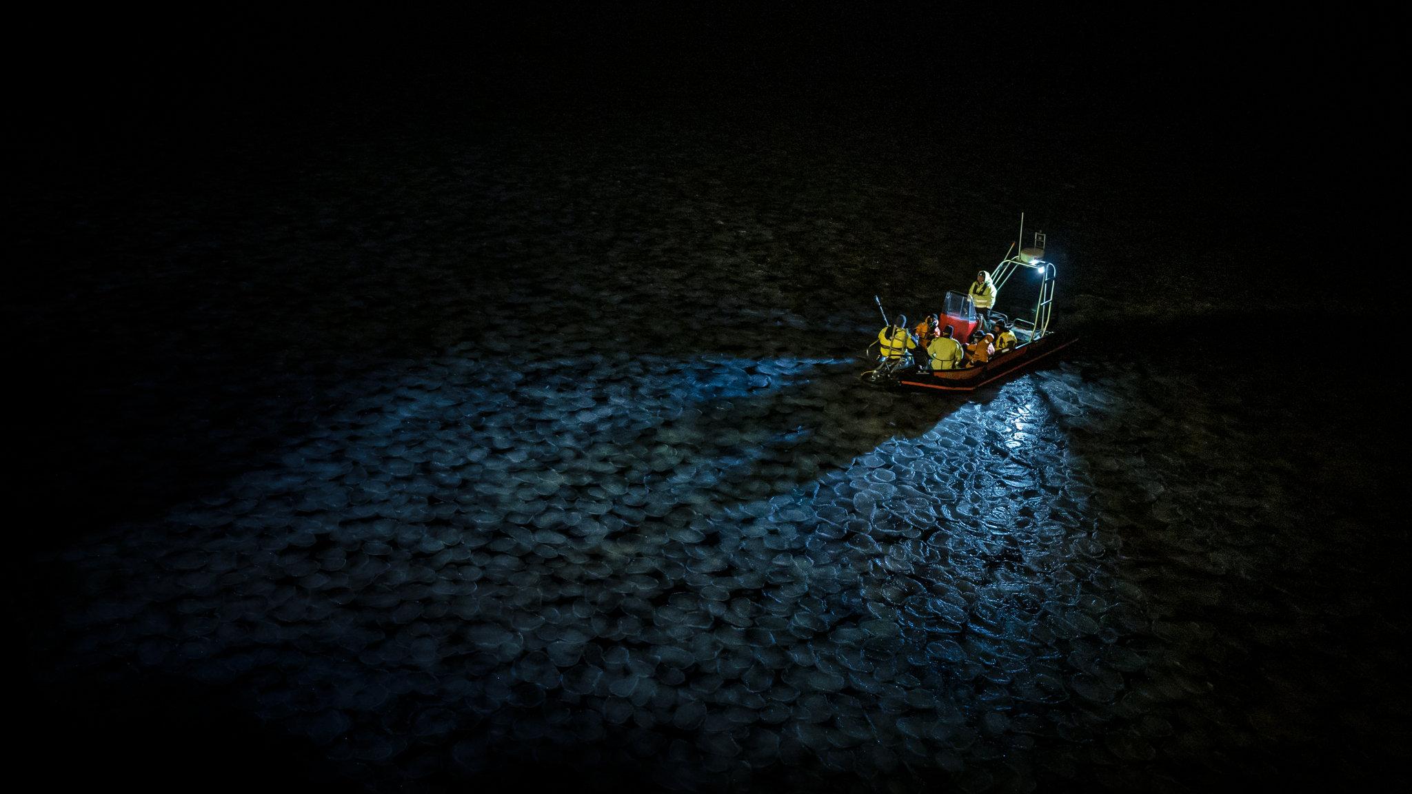 l'équipe de recherche à bord du vaisseau de recherche auxiliaire du navire Helmer Hanssen