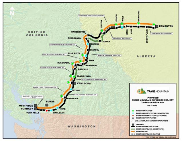 跨山输油管扩建项目示意图。