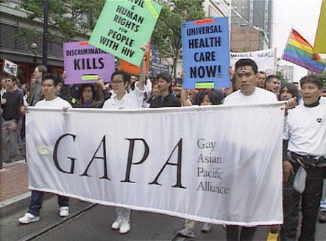 1990年,房惠晴为艾滋病人群争取权益作品。本人提供。